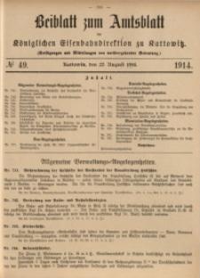 Beiblatt zum Amtsblatt der Königlischen Eisenbahndirektion zu Kattowitz, 1914, nr49