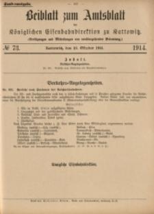 Beiblatt zum Amtsblatt der Königlischen Eisenbahndirektion zu Kattowitz, 1914, nr73
