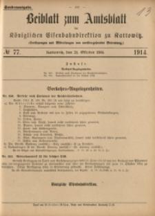 Beiblatt zum Amtsblatt der Königlischen Eisenbahndirektion zu Kattowitz, 1914, nr77