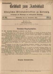 Beiblatt zum Amtsblatt der Königlischen Eisenbahndirektion zu Kattowitz, 1914, nr88
