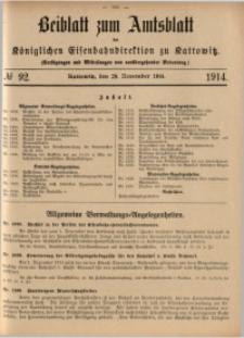 Beiblatt zum Amtsblatt der Königlischen Eisenbahndirektion zu Kattowitz, 1914, nr92