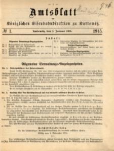 Amtsblatt der Königlichen Eisenbahndirektion zu Kattowitz, 1915, nr1
