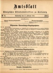 Amtsblatt der Königlichen Eisenbahndirektion zu Kattowitz, 1915, nr8