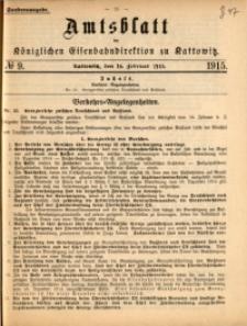 Amtsblatt der Königlichen Eisenbahndirektion zu Kattowitz, 1915, nr9