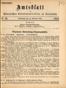 Amtsblatt der Königlichen Eisenbahndirektion zu Kattowitz, 1915, nr10