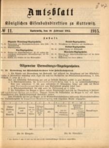 Amtsblatt der Königlichen Eisenbahndirektion zu Kattowitz, 1915, nr11