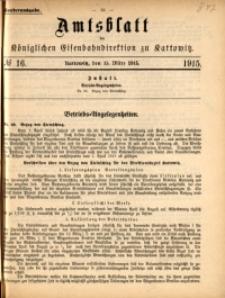 Amtsblatt der Königlichen Eisenbahndirektion zu Kattowitz, 1915, nr16