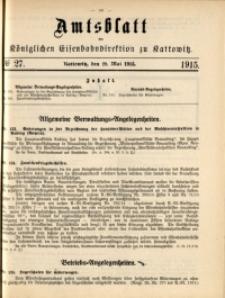 Amtsblatt der Königlichen Eisenbahndirektion zu Kattowitz, 1915, nr27