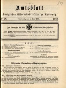 Amtsblatt der Königlichen Eisenbahndirektion zu Kattowitz, 1915, nr28