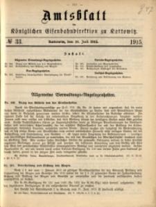 Amtsblatt der Königlichen Eisenbahndirektion zu Kattowitz, 1915, nr33