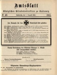 Amtsblatt der Königlichen Eisenbahndirektion zu Kattowitz, 1915, nr40
