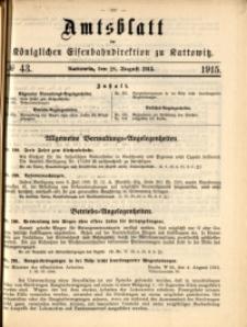 Amtsblatt der Königlichen Eisenbahndirektion zu Kattowitz, 1915, nr43