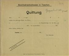 Druk-formularz pokwitowania wpłaty do Powiatowej Kasy Chorych w Cieszynie