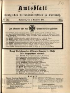 Amtsblatt der Königlichen Eisenbahndirektion zu Kattowitz, 1915, nr58