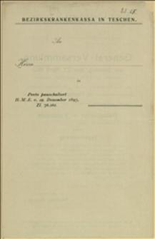 Obwieszczenie o Walnym Zgromadzeniu Powiatowej Kasy Chorych w Cieszynie w dniu 27.04.1913 r. - Cieszyn, 01.04.1913 r.