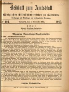 Beiblatt zum Amtsblatt der Königlischen Eisenbahndirektion zu Kattowitz, 1915, nr104