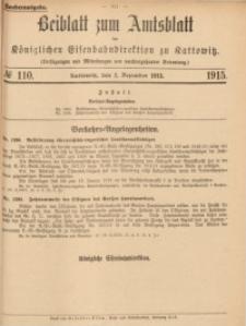 Beiblatt zum Amtsblatt der Königlischen Eisenbahndirektion zu Kattowitz, 1915, nr110