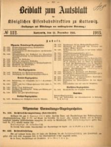 Beiblatt zum Amtsblatt der Königlischen Eisenbahndirektion zu Kattowitz, 1915, nr112