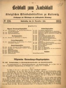 Beiblatt zum Amtsblatt der Königlischen Eisenbahndirektion zu Kattowitz, 1915, nr116