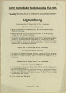 Porządek obrad IV Zjazdu Kas Chorych w Austrii w Wiedniu w dniach 07.-09.01.1909 r.