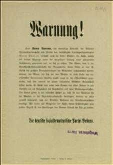 """Odezwa """"Die deutsche sozialdemokratische Partei Brünns"""" protestującej przeciw agitacji i nadużyciom Hansa Baerana, byłego sekretarza Powiatowej Kasy Chorych w Brnie"""