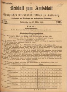 Beiblatt zum Amtsblatt der Königlischen Eisenbahndirektion zu Kattowitz, 1915, nr29