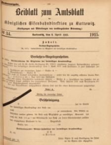 Beiblatt zum Amtsblatt der Königlischen Eisenbahndirektion zu Kattowitz, 1915, nr34