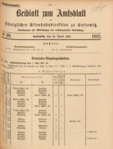 Beiblatt zum Amtsblatt der Königlischen Eisenbahndirektion zu Kattowitz, 1915, nr39