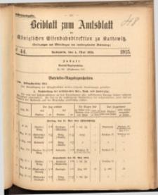 Beiblatt zum Amtsblatt der Königlischen Eisenbahndirektion zu Kattowitz, 1915, nr44