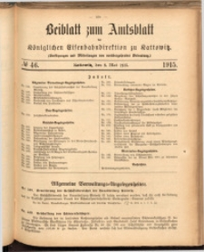 Beiblatt zum Amtsblatt der Königlischen Eisenbahndirektion zu Kattowitz, 1915, nr46