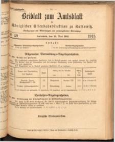 Beiblatt zum Amtsblatt der Königlischen Eisenbahndirektion zu Kattowitz, 1915, nr49