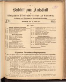 Beiblatt zum Amtsblatt der Königlischen Eisenbahndirektion zu Kattowitz, 1915, nr72