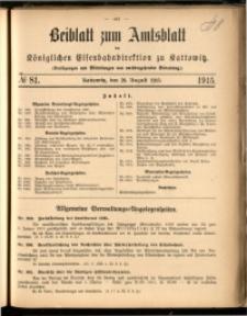Beiblatt zum Amtsblatt der Königlischen Eisenbahndirektion zu Kattowitz, 1915, nr81