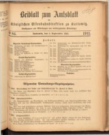 Beiblatt zum Amtsblatt der Königlischen Eisenbahndirektion zu Kattowitz, 1915, nr84
