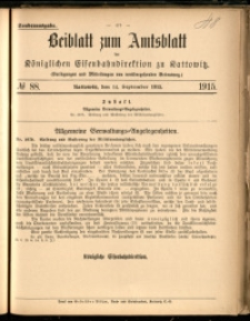 Beiblatt zum Amtsblatt der Königlischen Eisenbahndirektion zu Kattowitz, 1915, nr88