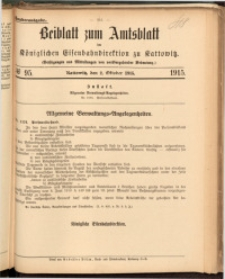 Beiblatt zum Amtsblatt der Königlischen Eisenbahndirektion zu Kattowitz, 1915, nr95