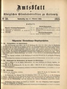Amtsblatt der Königlichen Eisenbahndirektion zu Kattowitz, 1915, nr50