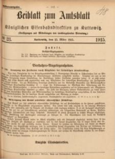 Beiblatt zum Amtsblatt der Königlischen Eisenbahndirektion zu Kattowitz, 1915, nr23