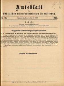 Amtsblatt der Königlichen Eisenbahndirektion zu Kattowitz, 1916, nr18