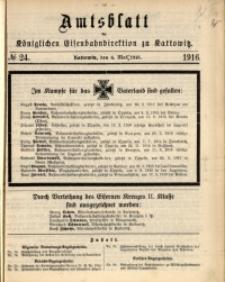 Amtsblatt der Königlichen Eisenbahndirektion zu Kattowitz, 1916, nr24