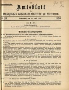 Amtsblatt der Königlichen Eisenbahndirektion zu Kattowitz, 1916, nr39