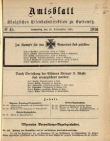 Amtsblatt der Königlichen Eisenbahndirektion zu Kattowitz, 1916, nr49