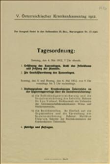 Porządek dzienny 5. Zjazdu Kas Chorych w Wiedniu w dniach 04. i 05.05.1912 r.