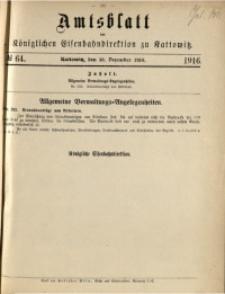 Amtsblatt der Königlichen Eisenbahndirektion zu Kattowitz, 1916, nr64