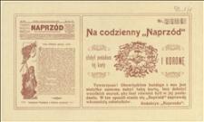 """Pokwitowania daru na gazetę """"Naprzód"""" w kwocie 1 korony"""