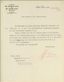 Pismo z kancelarii adwokackiej Wilhelma i Wiktora Haasa, z Morawskiej Ostrawy z 20 marca 1914