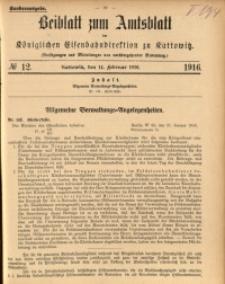 Beiblatt zum Amtsblatt der Königlischen Eisenbahndirektion zu Kattowitz, 1916, nr12