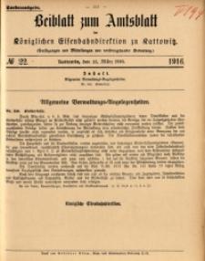 Beiblatt zum Amtsblatt der Königlischen Eisenbahndirektion zu Kattowitz, 1916, nr22