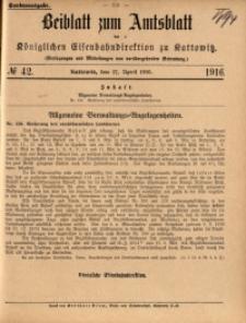Beiblatt zum Amtsblatt der Königlischen Eisenbahndirektion zu Kattowitz, 1916, nr42