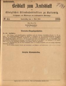 Beiblatt zum Amtsblatt der Königlischen Eisenbahndirektion zu Kattowitz, 1916, nr44